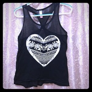 Elephant heart tribal Indian print tank top black